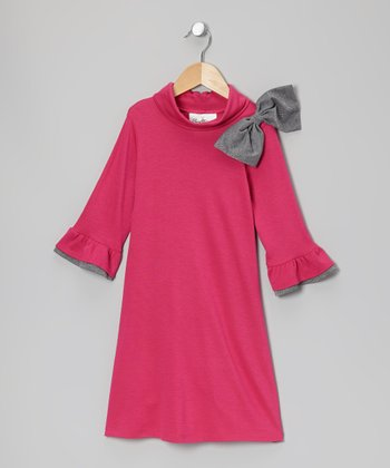 Fuchsia & Gray Bow Dress - Girls