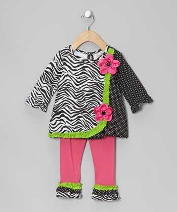 Black & White Zebra Tunic & Leggings - Infant, Toddler & Girls