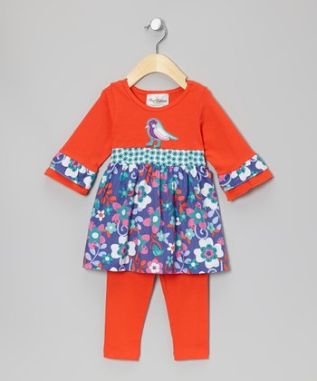 Orange & Turquoise Floral Tunic & Leggings - Infant, Toddler & Girls