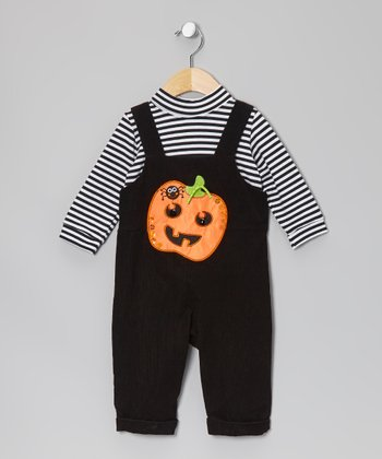 Black Halloween Pumpkin Bodysuit & Corduroy Overalls - Infant