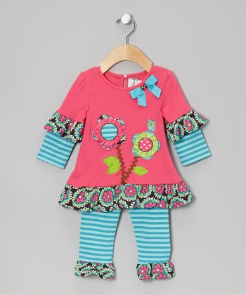 Fuchsia & Turquoise Flower Tunic & Flower Leggings - Infant