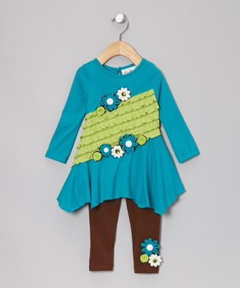 Turquoise & Lime Color Block Tunic & Leggings - Girls