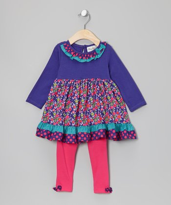 Purple & Pink Floral Tunic & Leggings - Infant & Girls