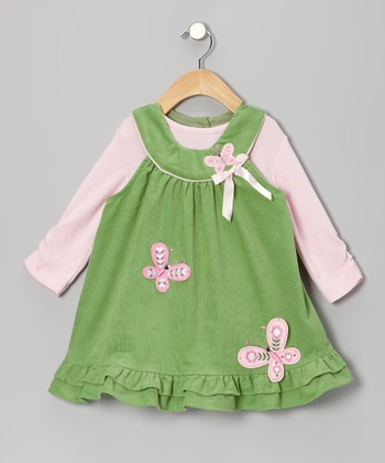Sage & Pink Butterfly Bodysuit & Jumper - Infant, Toddler & Girls