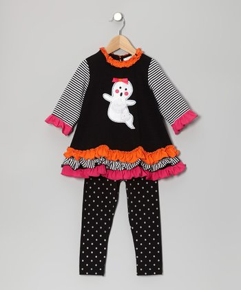 Black & Orange Ghost Tunic & Leggings - Infant