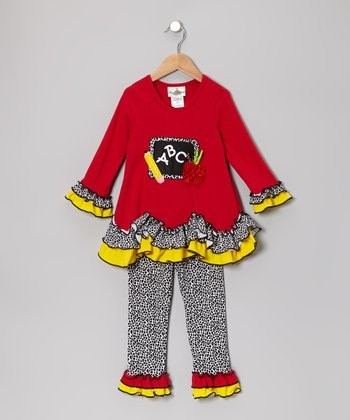 Red & Yellow Chalkboard Tunic & Leggings - Infant, Toddler & Girls
