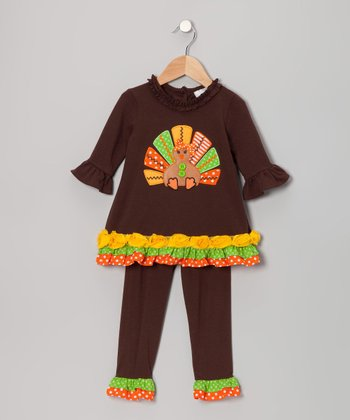 Brown & Yellow Turkey Tunic & Leggings - Infant