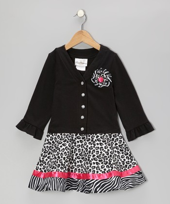Black & Fuchsia Zebra Cheetah Cardigan & Skirt - Girls