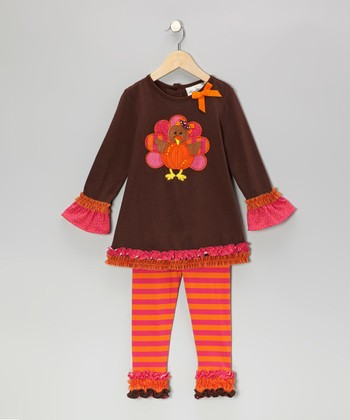 Brown & Fuchsia Turkey Tunic & Leggings - Toddler & Girls