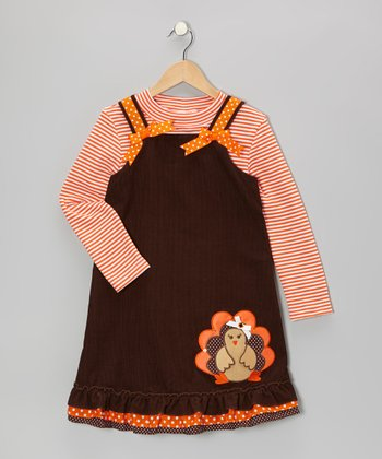 Orange Stripe Bodysuit & Brown Corduroy Jumper - Toddler & Girls