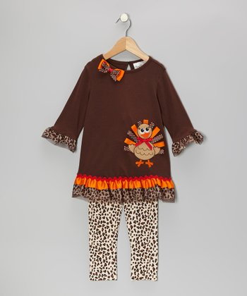 Brown & Orange Cheetah Turkey Tunic & Leggings - Infant