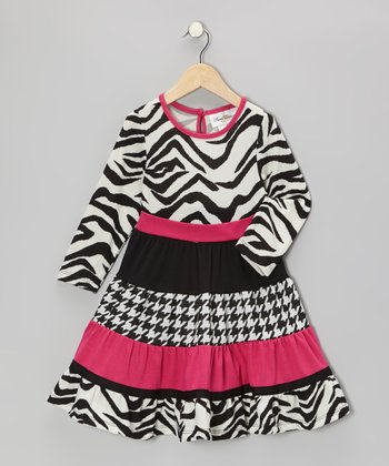 Black & Pink Zebra Dress - Infant & Toddler