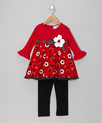 Red & Black Ladybug Tunic & Leggings - Infant