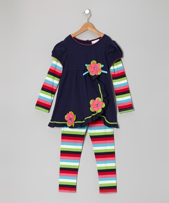 Navy & Pink Flower Layered Tunic & Leggings - Infant, Toddler & Girls