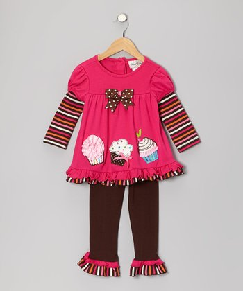 Fuchsia Cupcake Layered Tunic & Brown Leggings - Infant