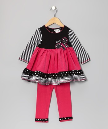 Black & Fuchsia Stripe Tunic & Leggings - Infant, Toddler & Girls