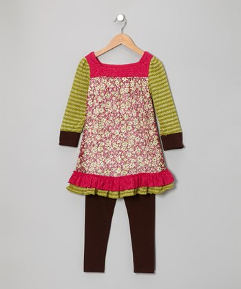Fuchsia Floral Tunic & Brown Leggings - Infant, Toddler & Girls