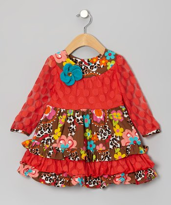 Orange & Brown Floral Tiered Ruffle Dress - Infant & Girls
