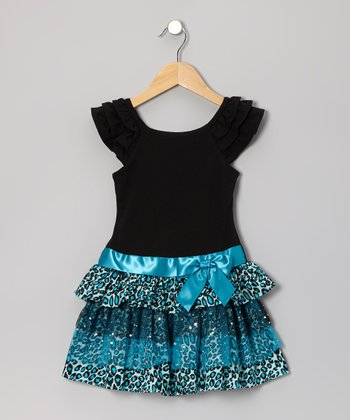 Black & Turquoise Leopard Dress - Toddler