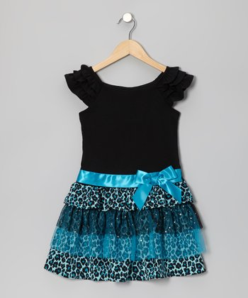 Black & Turquoise Leopard Dress - Girls