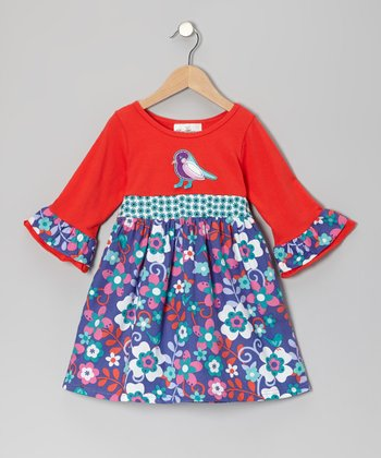 Orange & Turquoise Bird Floral Dress - Girls