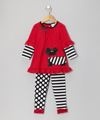 Red & Black Scottie Dog Tunic & Leggings - Infant, Toddler & Girls