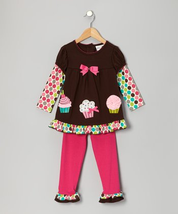 Brown & Fuchsia Cupcake Tunic & Leggings - Infant, Toddler & Girls