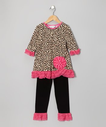 Brown & Fuchsia Leopard Tunic & Leggings - Girls