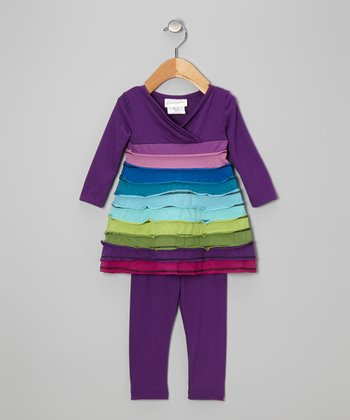 Purple Tiered Tunic & Leggings - Infant