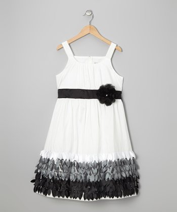 Ivory & Black Feather Dress - Girls' Plus