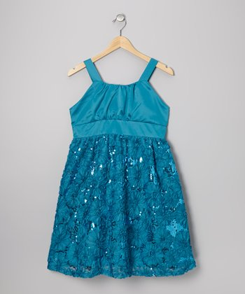 Turquoise Floral Sequin Dress - Girls' Plus