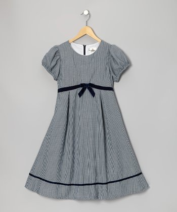 Navy & White Gingham Bow Dress - Girls' Plus