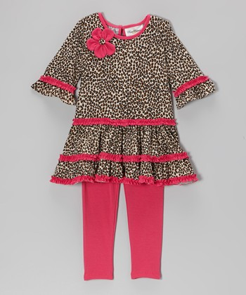 Tan & Fuchsia Cheetah Ruffle Tunic & Leggings - Girls
