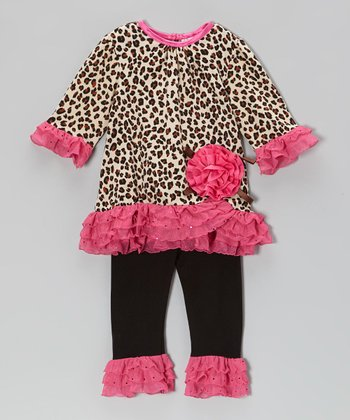 Brown & Fuchsia Leopard Tunic & Leggings - Infant