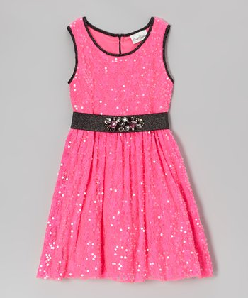 Fuchsia Sequin Dress - Girls' Plus
