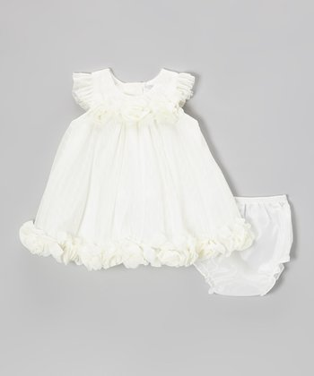 Ivory Swiss Dot Satin Dress & Diaper Cover - Infant