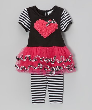 Fuchsia & Black Heart Dress & Stripe Leggings - Infant
