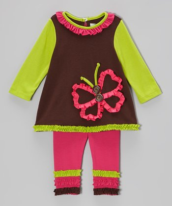 Brown & Lime Butterfly Tunic & Ruffle Leggings - Infant