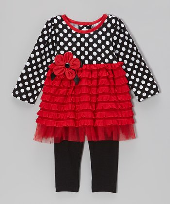 Red & Black Ruffle Tunic & Leggings - Infant