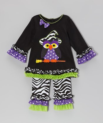 Black & Lime Owl Tunic & Zebra Ruffle Leggings - Infant