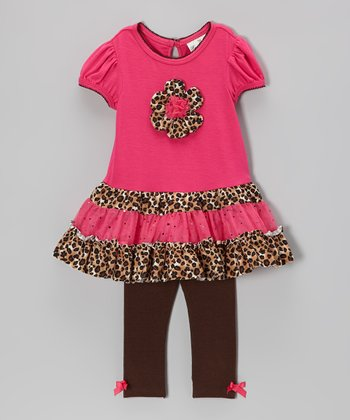 Fuchsia & Leopard Ruffle Tunic & Leggings - Toddler