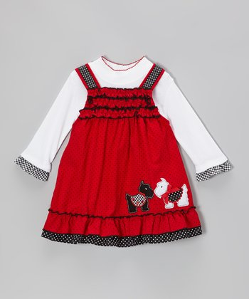 White Bodysuit & Red Scottie Dog Dress - Infant, Toddler & Girls