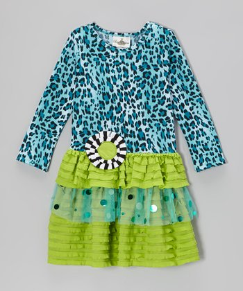 Teal & Lime Leopard Tiered Dress - Toddler