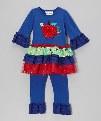Blue & Red Apple Tiered Tunic & Leggings - Infant & Toddler