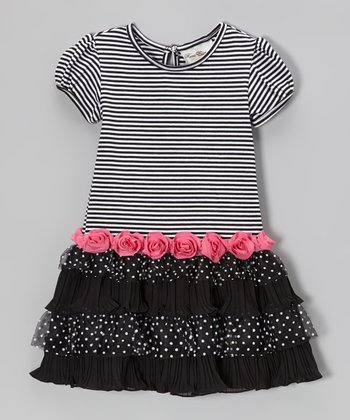 Black & Pink Stripe Tiered Dress - Toddler & Girls