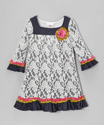 Ivory & Denim Lace Dress - Toddler & Girls
