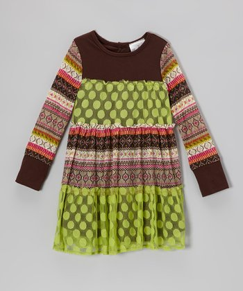 Lime & Brown Polka Dot Dress - Toddler & Girls