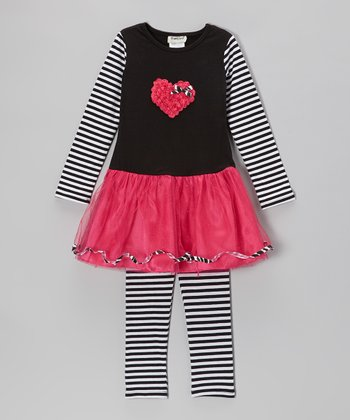 Black & Fuchsia Heart Dress & Stripe Leggings - Infant