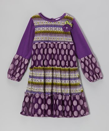Purple Polka Dot Dress - Girls