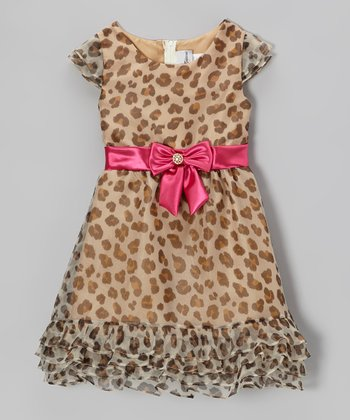 Brown & Fuchsia Leopard Organza Dress - Girls